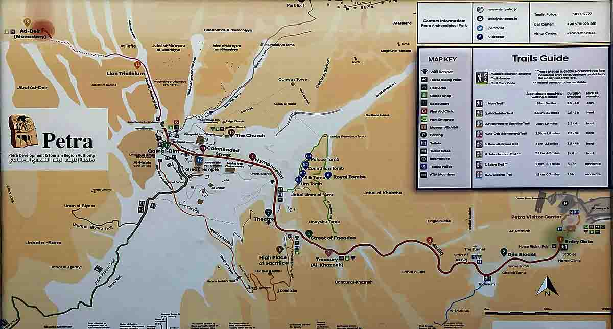 mapa turistico de petra, jordania